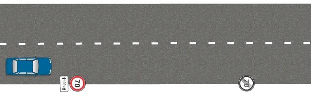 Какова зона действия знака Ограничение скорости на?