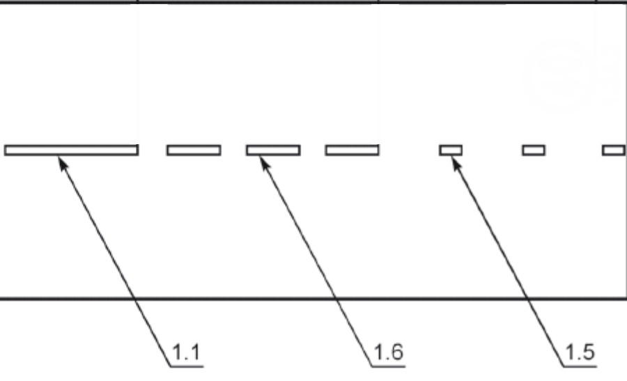 Разметка 1.6, нанесённая перед сплошной и после прерывистой