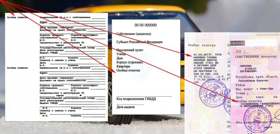Особые отметки о ГБО в документах на автомобиль