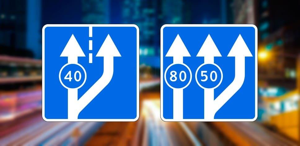 Примеры режимов движения по полосам на знаках с синим фоном
