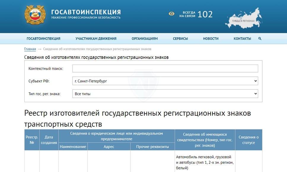 Реестр изготовителей госномеров без флага на официальном сайте ГИБДД