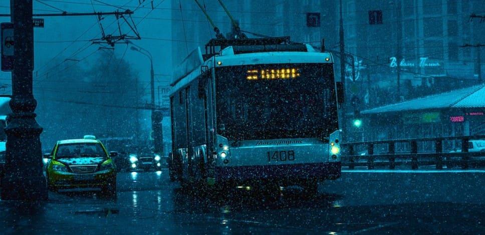 Такси высаживает пассажиров на автобусной полосе